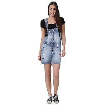Dungaree Shorts Button Front Bib Overall Shorts