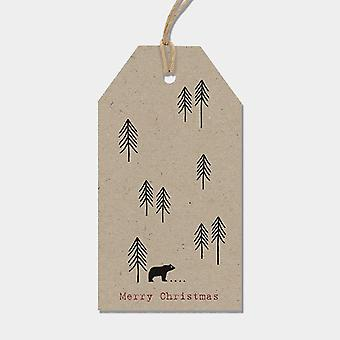 East of India Woodland Christmas Tags set of 6 Kraft Brown Craft