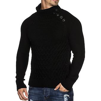 TAZZIO men's knit sweater with button placket black