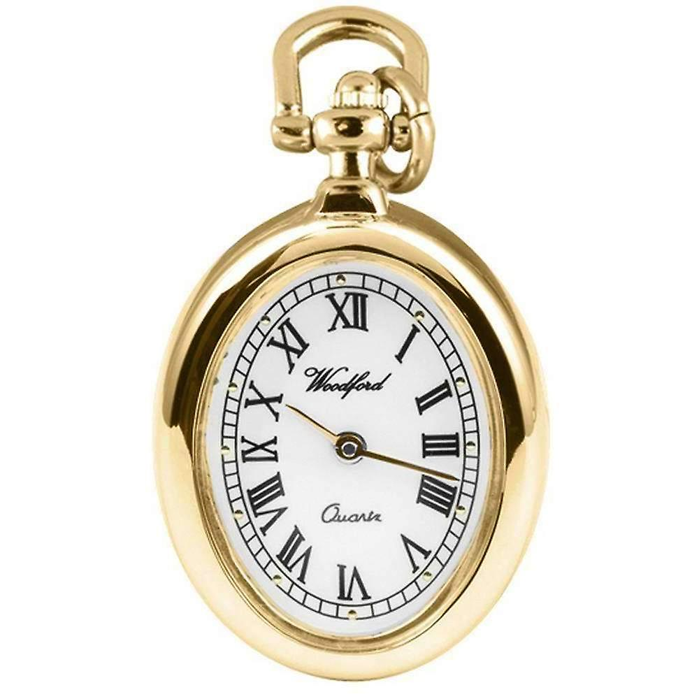 Woodford Gold Plated Oval Flower Quartz Pendant Watch - Gold/Black