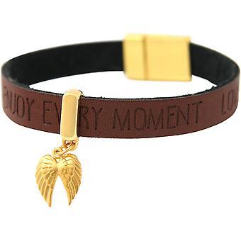 Gemshine Armband Schutz Engel Doppelflügel Silber Vergoldet WISHES Braun