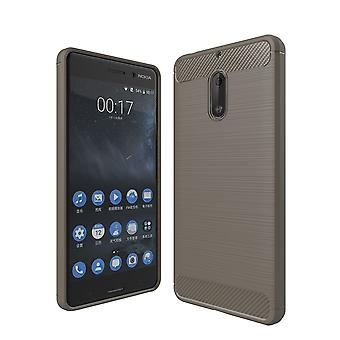 Nokia 6 TPU case carbon fiber optics brushed protection cover grey