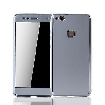 Huawei P10 Lite celular escudo proteção completa tampa tanque proteção vidro prata