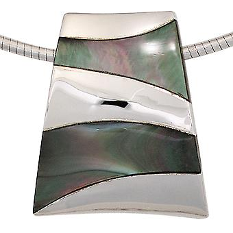 Mother of Pearl pendant 925 sterling silver rhodium plated with mother of Pearl inlays