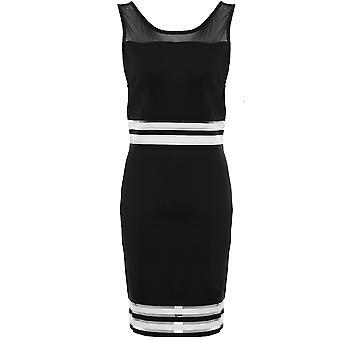 Ladies Sleeveless Mesh Low V Back Semi Sheer Stripe Panel Bodycon Mini Dress