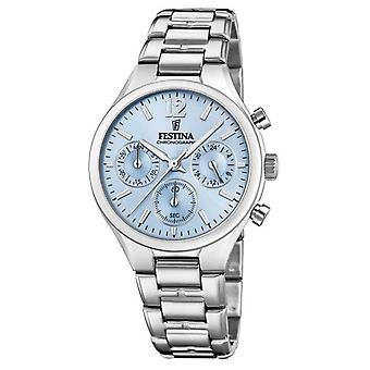 Festina Womens Boyfriend Chronograph Stainless Steel Blue Dial F20391/3 Watch
