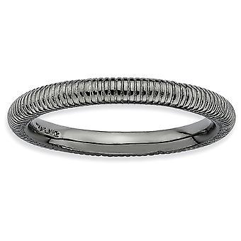 Sterlingsølv poleret Ruthenium plating stabelbare udtryk sort forgyldt tekstureret Ring - ringstørrelse: 5-10
