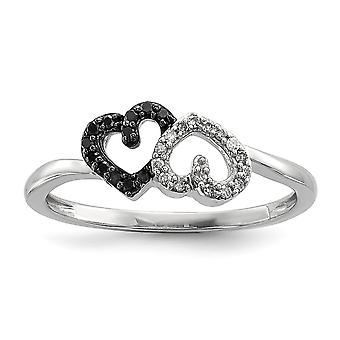 925 Sterling Silver Polished Prong set Open back Gift Boxed Rhodium-plated Black and White Diamond Double Heart Ring - R