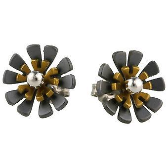 Ti2 Titanium Black Back Ten Petal Flower Stud Earrings - Tan Beige