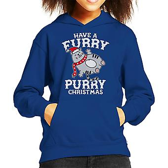 毛皮のような Purry を持っているクリスマスの子供のフード付きスウェットシャツ
