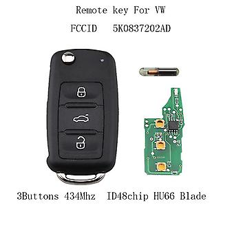 48 434 Mhz chip 3 buttons remote key 5 k 0 837 202 AD for VW Jetta Polo GOLF PASSAT Volkswagen Tiguan for VW 5K0837202AD 202AD