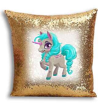 i-Tronixs - Unicorn Printed Design Gold Sequin Cushion / Pillow Cover with Inserted Pillow for Home Decor - 17