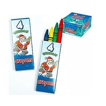 100 Packs of 4 Christmas Wax Crayons for Kids Crafts & Party Bags