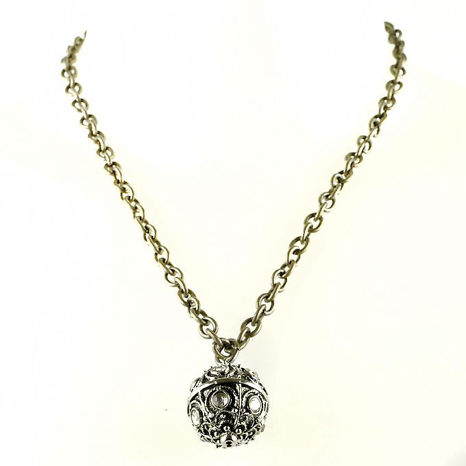 Waooh - Fashion Jewellery - WJ0281 - Necklace with Swarovski Strass - Chain & Pendant Antique Silver Serti