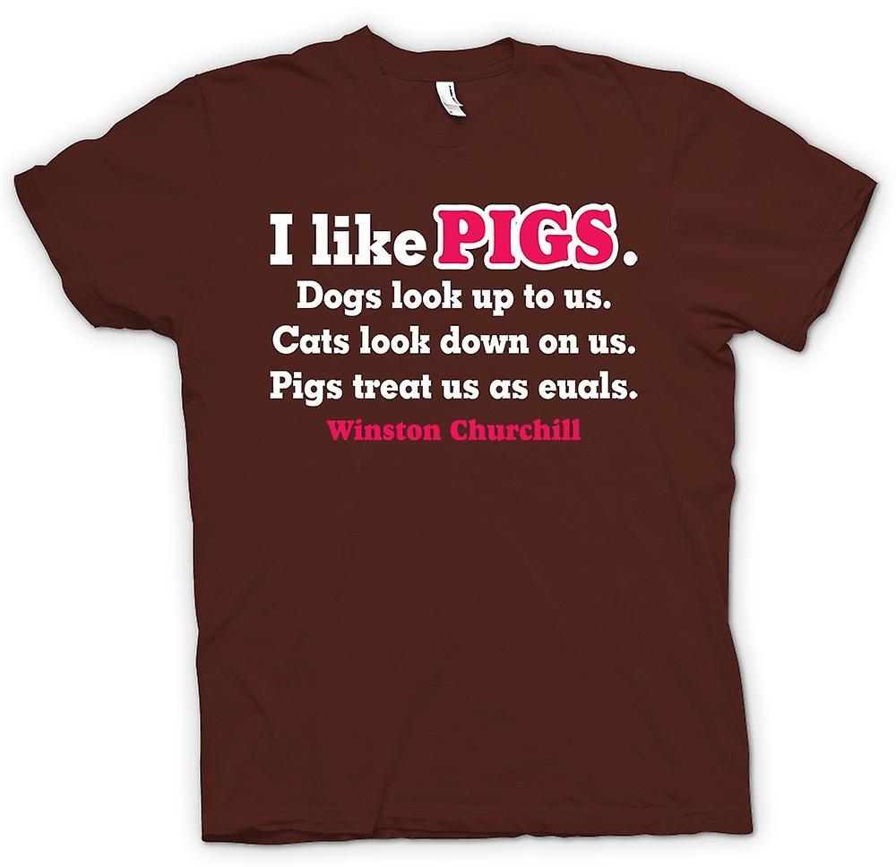 Mens T-shirt - I Like Pigs Dogs Look Up To Us Cats Look Down On Us
