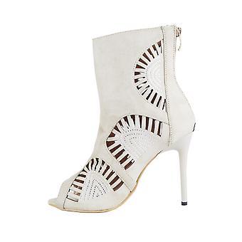 Lovemystyle mocka Laser skär Stiletto heel sandaler i naken