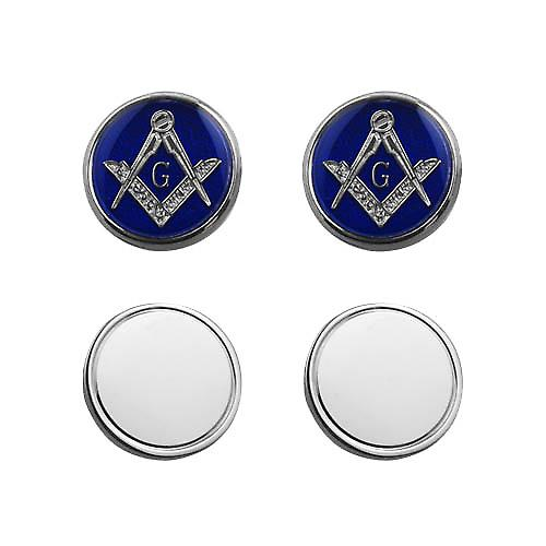 Silver 17mm round cold cure enamel Masonic with 'G' swivel Cufflinks
