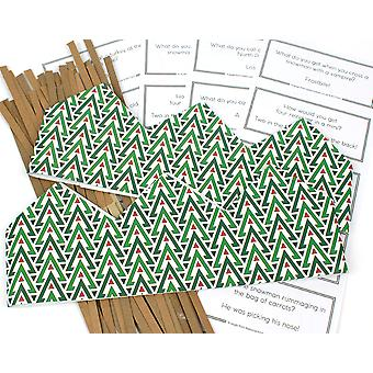 Geometric Christmas Adjustable Paper Hats, Snaps & Christmas Jokes for Cracker Making Crafts - 10 or 25 Pack