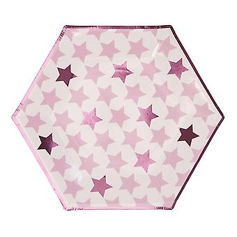 Little Star Pink - Large Paper Party Plates - 8 Pack