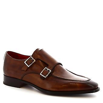 Leonardo Shoes men's handmade double monks in brandy calf leather