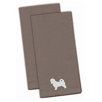 Carolines Treasures  BB3436GYTWE Maltese Gray Embroidered Kitchen Towel Set of 2