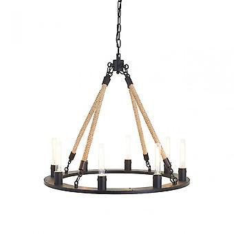 Premier Home Hampstead 8 glödlampa ljuskrona, järn, linne rep, svart