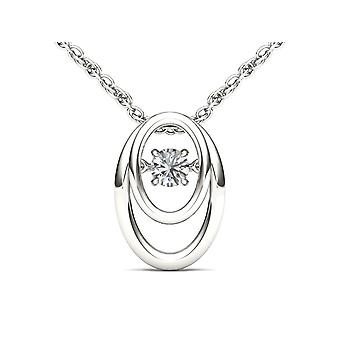 IGI Certified 10k White Gold 0.15 Ct Natural Diamond Dancing Pendant Necklace