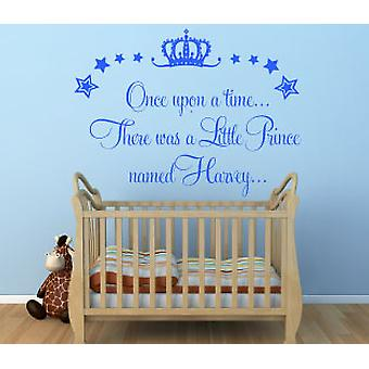 Personalised Once Upon A Time Prince Wall Sticker Boys Bedroom Kids Decal Nursery Magical Theme
