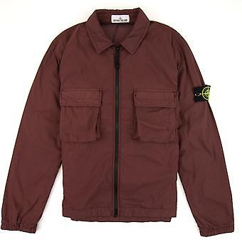 Stone Island Brushed Cotton Garment Dyed Zip Overshirt Burgundy V0011