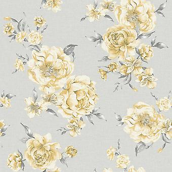 Peony Pink Dark Grey Floral Wallpaper Roses Leaf Flowers Painterly Holden Decor