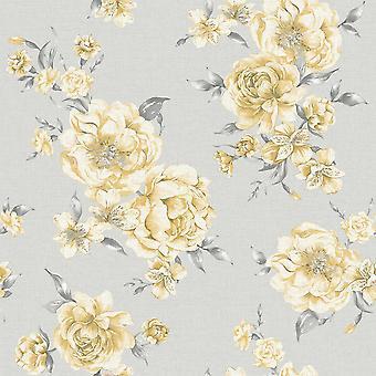 Peony roze donker grijs bloemen behang rozen blad bloemen schilderkunstige Holden decor