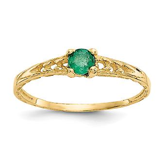 14k Yellow Gold Polished 3mm Emerald for boys or girls Ring - Size 3