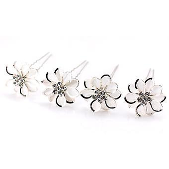 Förpackning med 4 stor blomma Silver & Crystal Net hårnålar