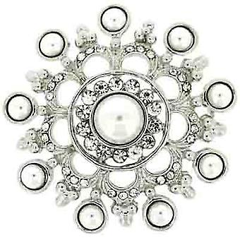 Brooches Store Antique Silver Pearl and Clear Crystal Heirloom Brooch