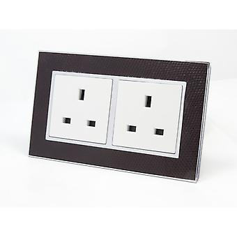 I LumoS AS Luxury Goat Skin Leather  Double Unswitched Wall Plug  13A UK Sockets
