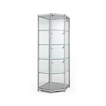 Silver Glass Corner Display Cabinet with Lights - 650mm