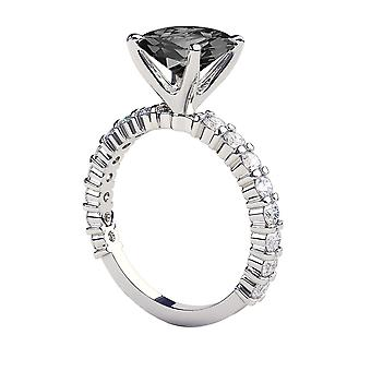 3.90 CTW 14K White Gold Black Diamond Ring with Diamonds Princess Cut Unique