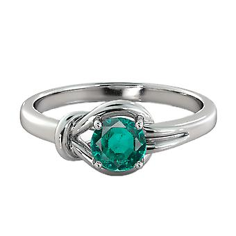 0.50 CT Emerald Ring 14K White Gold Knot  4 prongs Round