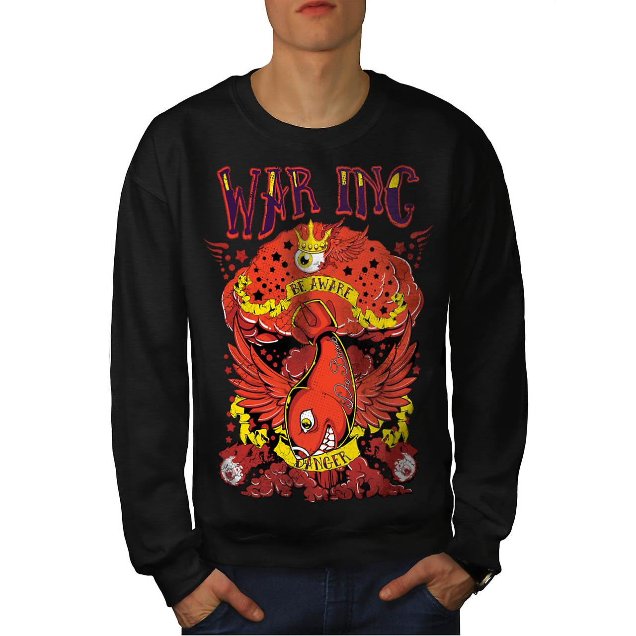 War Danger Beware Fish Extreme Men Black Sweatshirt | Wellcoda