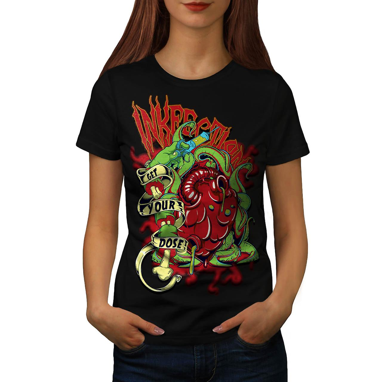 Ink Infection Tattoo Death Dose Women Black T-shirt | Wellcoda