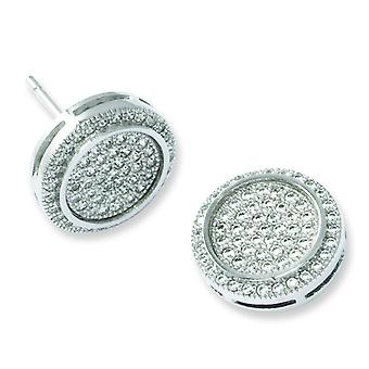 Sterling Silver Pave Rhodium-plated and Cubic Zirconia Fancy Circle Post Earrings