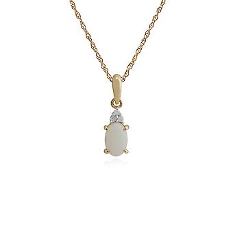 Gemondo 9ct Yellow Gold 0.29ct Opal & Diamond Pendant on 45cm Chain