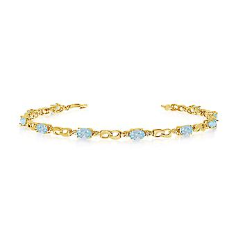 10K Yellow Gold Oval Aquamarine and Diamond Link Bracelet