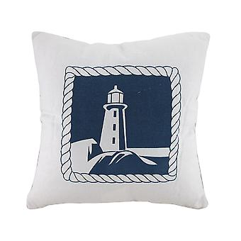 White And Blue Lighthouse Decorative Canvas Throw Pillow
