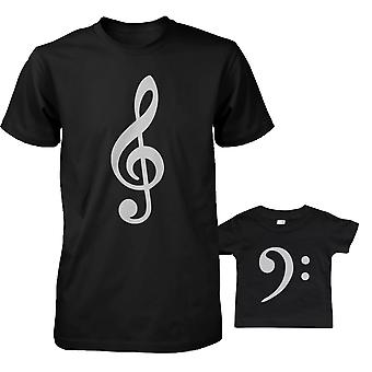 Table Clef And Bass Clef Daddy And Baby Matching T-shirt Father's Day Gifts