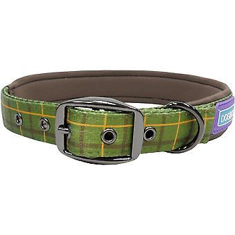 Dog & Co Nylon Padded Collar Luxury Green Check 1