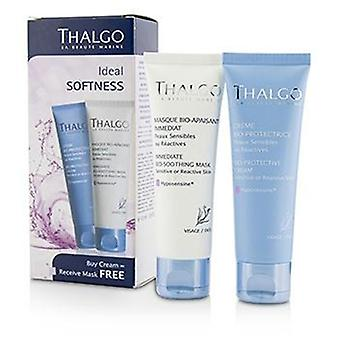 Thalgo Ideal Softness Kit: Bio-Protective Cream 50ml + Immediate Bio-Soothing Mask 50ml - 2pcs
