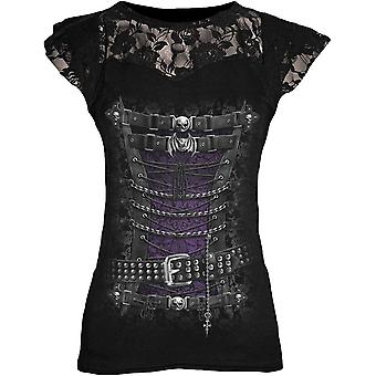 Spiral WAISTED Womens - Lace Layered Cap Sleeve Top Black