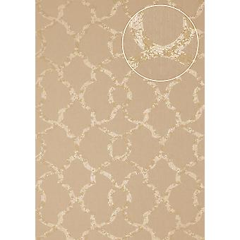 Exclusive luxury wallpaper Atlas PRI-557-2 non-woven wallpaper structure glittering with ornaments olive olive grey Pebble grey perl-beige 5.33 m2