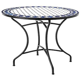 Ldk Ceramic round table blue ocean-white 90x75 cm